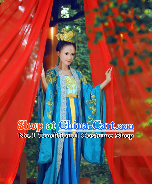 Chinese Traditional Fairy Costumes Classical Dancing Costumes and Coronet Complete Set for Women