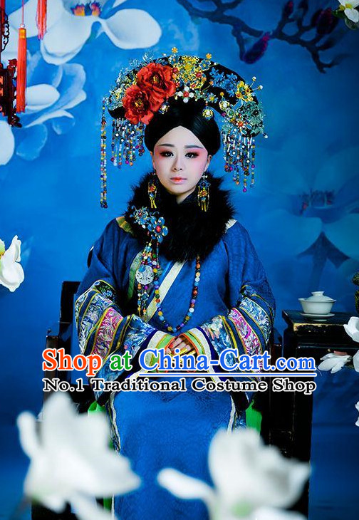 Chinese Qing Dynasty Empress Clothes Outfits Attire Complete Set for Women