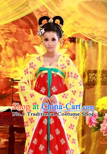Chinese Classical Tang Dynasty Princess Clothes and Hair Accessories for Women