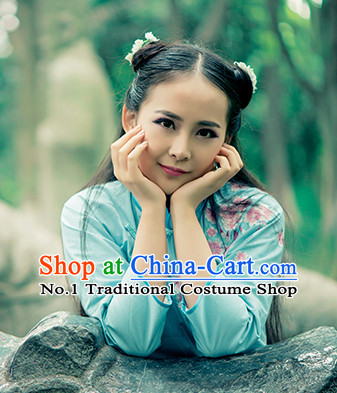 Chinese Traditional Blue Mandarin Clothes for Women