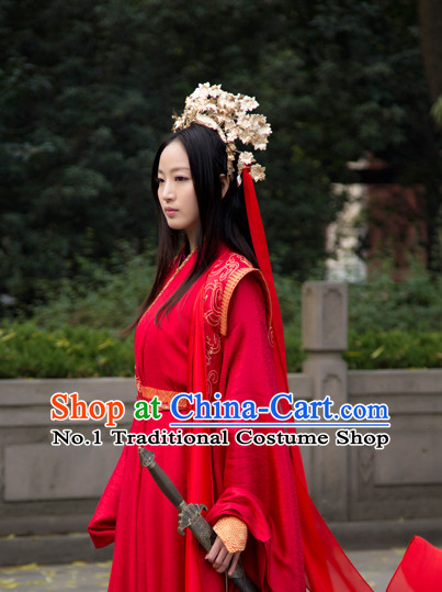 Chinese Traditional Red Wedding Dress And Hair Accessories Complete
