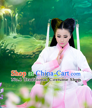 Chinese Traditional White Pink Xiao Long Nv Dragon Lady Fairy Costumes