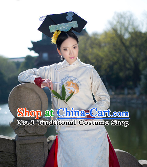 Chinese Traditional Manchu Goldfish Embroidered Qipao Cheongsam