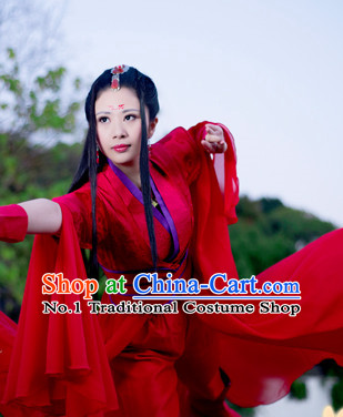 Chinese Traditional Red Swordswoman Outfits and Hair Decorations Complete Set