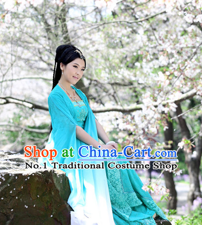 Chinese Traditional Blue Fairy Costumes and Hair Accessories Complete Set