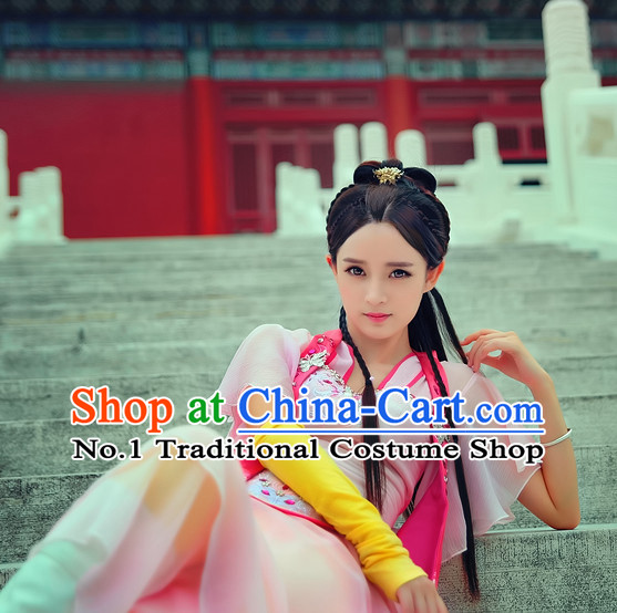 Chinese Traditional Han Fu Clothes Oriental Fairy Costumes and Hair Accessories Complete Set for Ladies