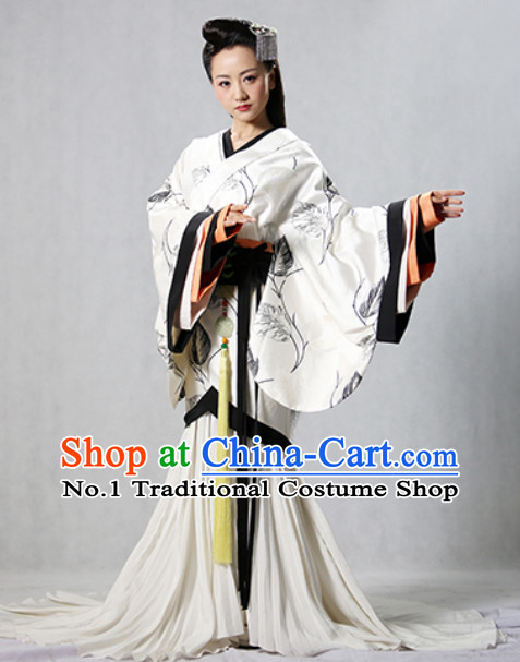 Chinese Traditional Han Fu Clothing and Hair Ornaments Complete Set for Ladies