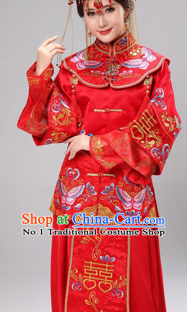 Double Happiness Chinese Wedding Dress and Hair Accessories Complete Set for Brides