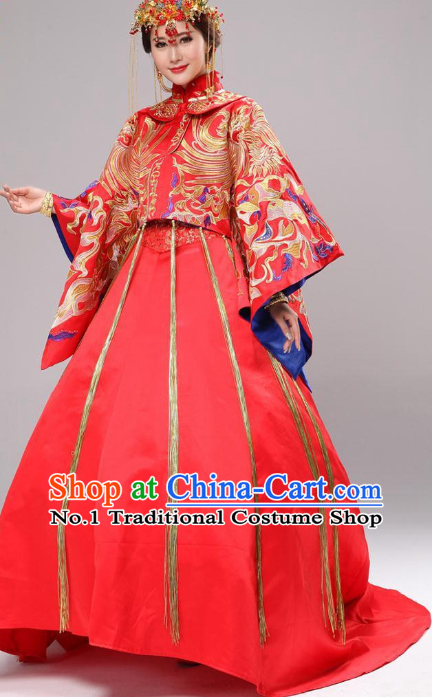 Chinese Fashion Short Coat Long Skirt Wedding Dresses and Hair Accessories Complete Set for Brides