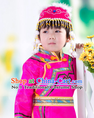 Traditional Chinese Photo Costume Mongolian Clothes and Hat Complete Set for Child
