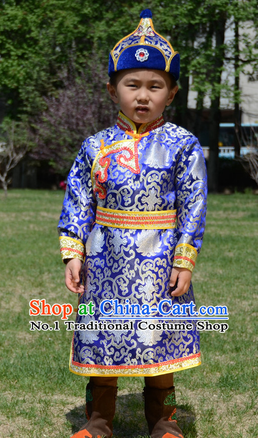 Traditional Chinese Photo Costume Mongolian Clothing and Hat Complete Set for Children