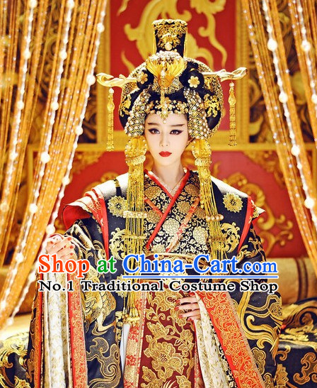 Traditional Chinese Wu Zetian Female Emperor Dragon Robe and Crown Complete Set