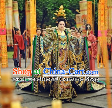 Traditional Chinese Wu Zetian Female Phoenix Emperor Dragon Robe and Crown Complete Set