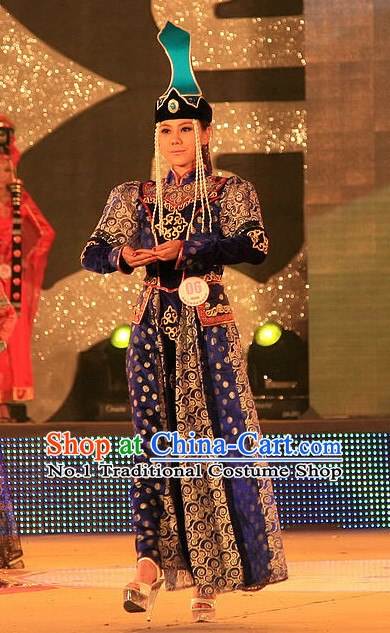 Traditional Mongolian Clothes and Hat Complete Set for Women