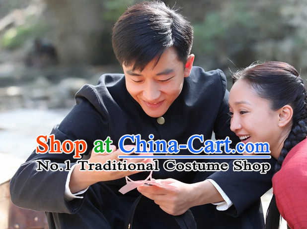 Chinese Traditional Mandarin Blouse and Pants Complete Set for Men