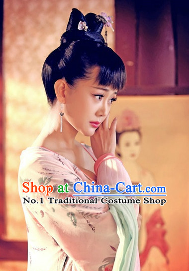 Handmade Chinese Palace Lady Wigs and Hair Accessories