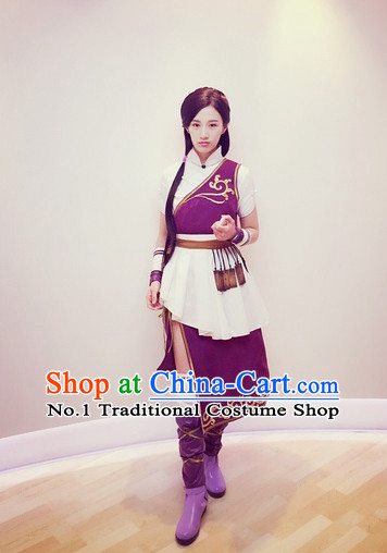 Traditional Chinese Ancient Female Warrior Knight Costumes and Hair Accessories Complete Set