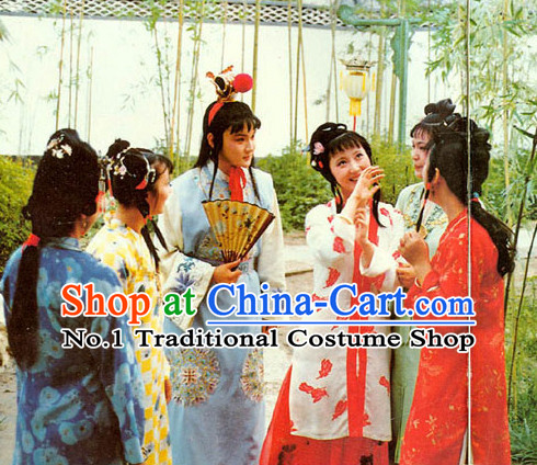 Traditional Chinese Jia Baoyu and Lin Daiyu Costumes 2 Sets for Women and Men