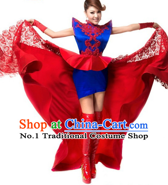 Traditional Chinese Mongolian Clothing and Hat Complete Set for Women