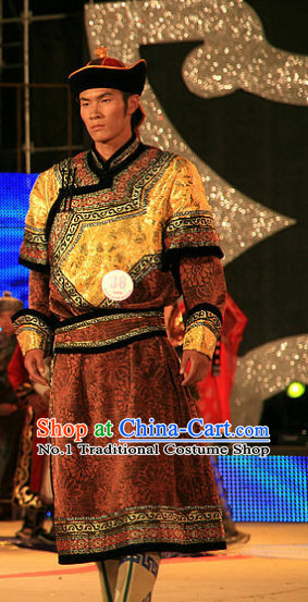 Traditional Chinese Mongolian Long Robes and Hat Complete Set for Men