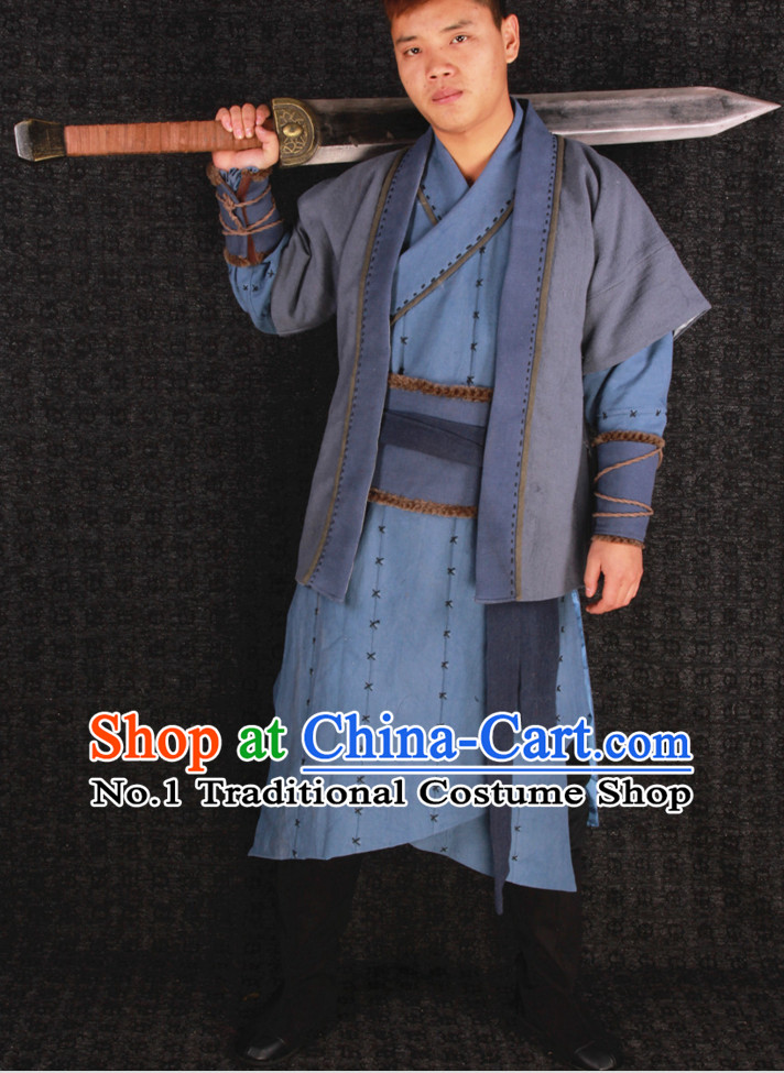 Chinese Halloween Cosplay Ancient Swordsmen Costumes Complete Set for Men