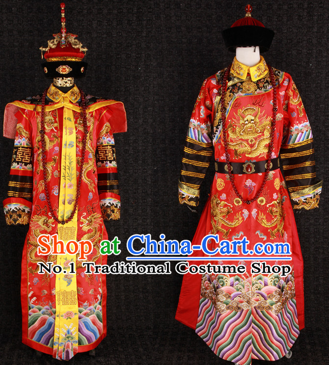 Ancient Chinese Princess Wedding Dress and Hat 2 Complete Sets for Men and Women