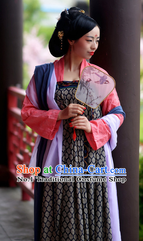 Ancient Chinese Tang Dynasty Noblewomen Clothes Complete Set for Girls