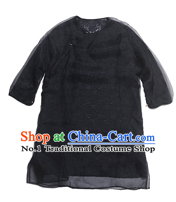 Black Silk Chinese Traditional Short Sleeves Mandarin Blouse for Women