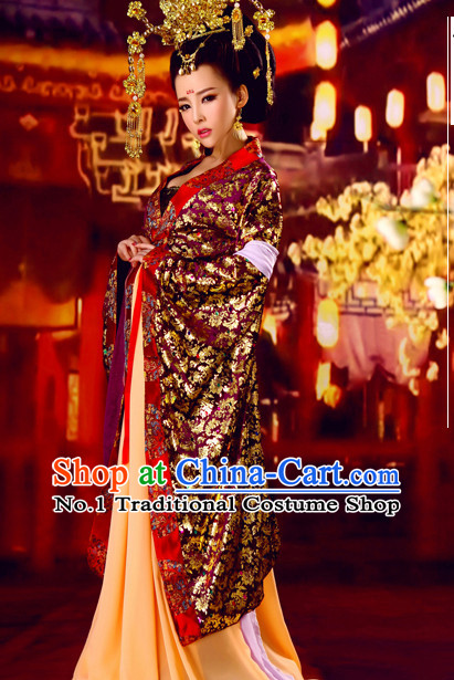 Chinese Halloween Cosplay Empress Costumes and Hair Ornaments Complete Set for Women