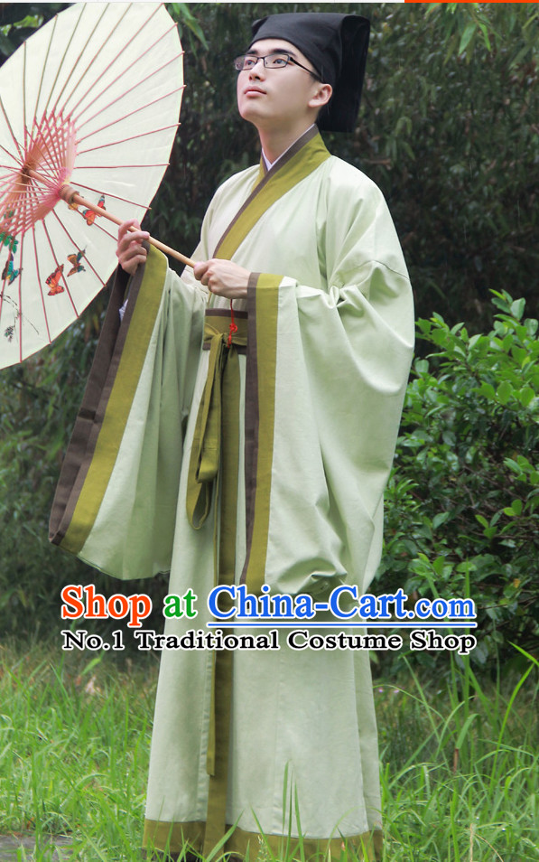 Light Green Ancient Chinese Scholar Suit and Hat Complete Set
