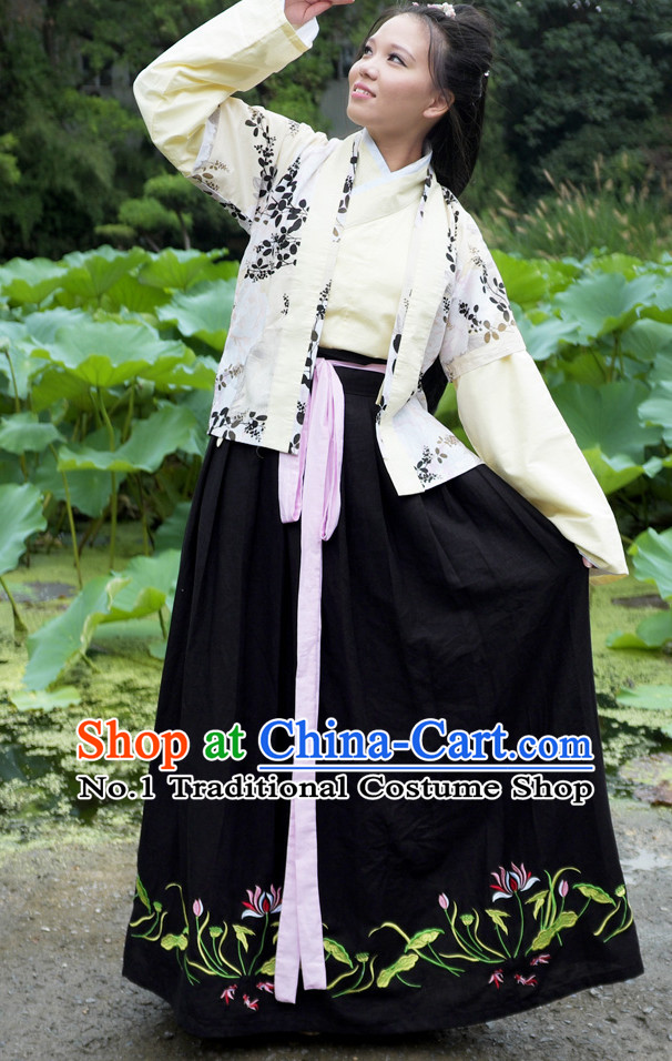 Ancient Chinese Han Fu Gu Zhuang Clothes Complete Set for Women
