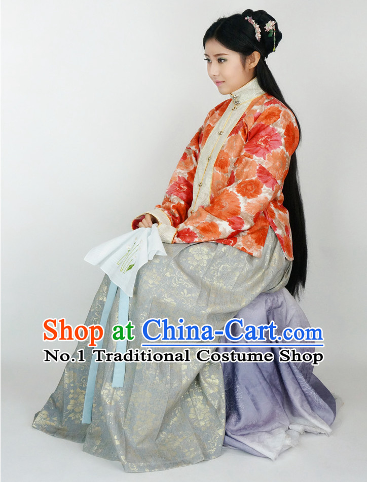 Ancient Chinese Oriental Clothing Complete Set for Ladies