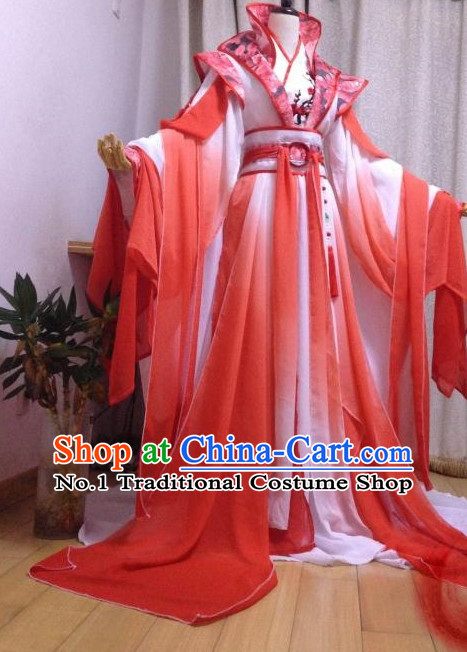 Red Romantic Ancient Chinese Queen Costumes Complete Set for Women