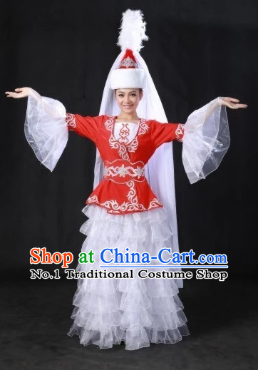 Traditional Chinese Kazak Clothes and Hat Complete Set for Women