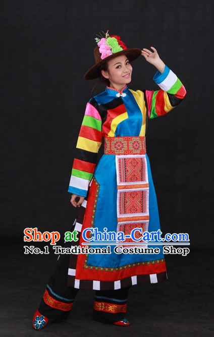 Traditional Chinese Ethnic Minority Tu People Clothing and Hat Complete Set for Women