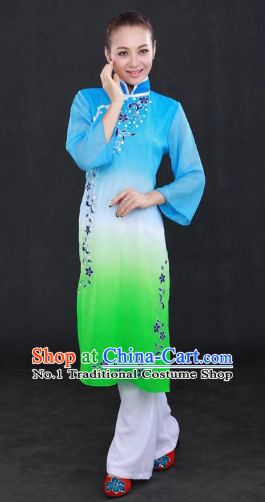 Traditional Chinese Han People Folk Dresses and Hat Complete Set for Women