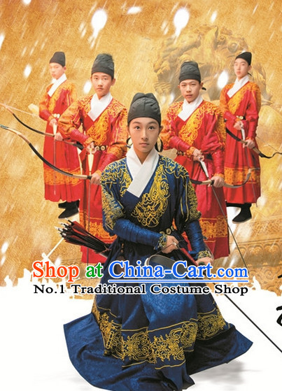 Ancient Chinese Ming Dynasty Bodyguard Costumes and Hat Full Set for Men