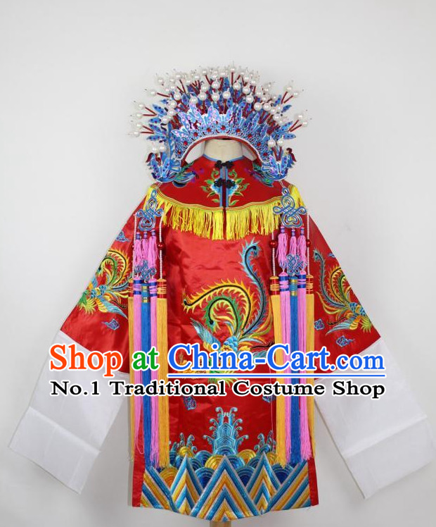 Chinese Ancient Wedding Opera Costumes and Hat Complete Set for Kids