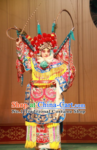 Chinese Traditonal Beijing Opera Wu Tan Costumes and Hair Accessories Complete Set