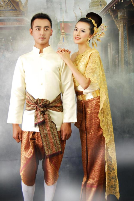 Traditional Thailand Customs Husband and Wife Clothes 2 Sets