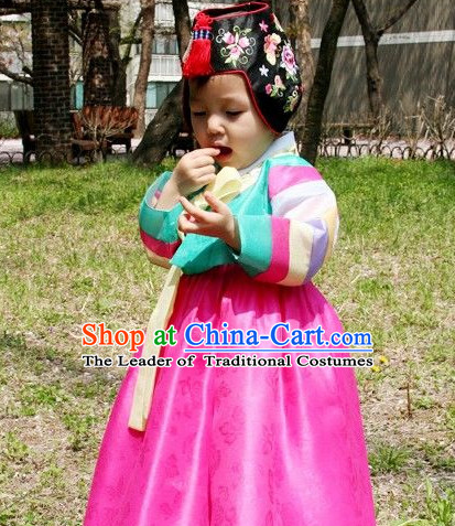 Ancient Korean Palace Princess Clothing and Hat Complete Set for Kids