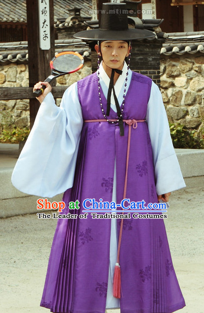 Ancient Korean Palace Official Long Robe Dress and Hat Complete Set