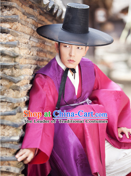 Ancient Korean Lover Costume and Hat Complete Set for Men