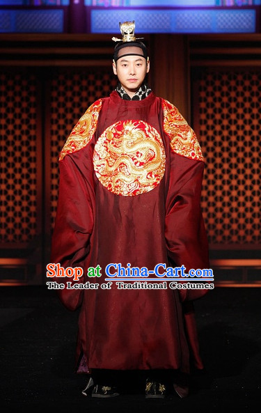 Ancient Korean Emperor Costume and Head Band Complete Set for Men