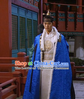 Ancient Korean Emperor Dragon Costumes Mantle and Headwear Complete Set