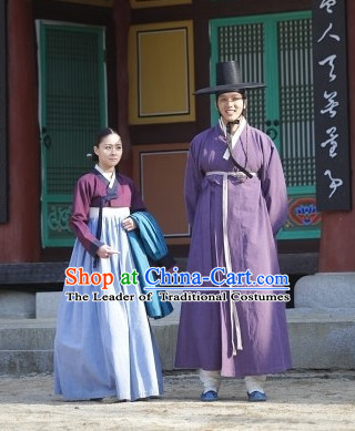 Ancient Korean Husband and Wife Costume and Hat 2 Complete Sets