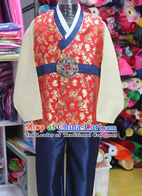 Custommade Plus Size Korean Fashion Hanbok Clothing Complete Set for Men