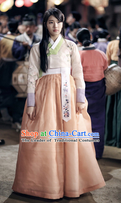 Korean Classic Han Bok TV Drama Costume and Hair Accessories Complete Set for Women