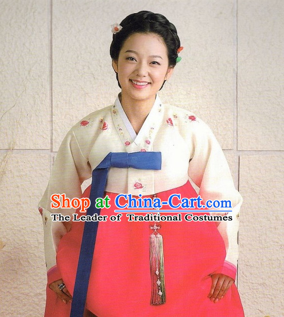 Korean Classic Hanbok Customs Garment and Hair Accessories Complete Set for Women