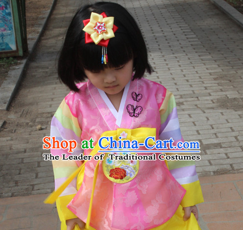 Korean Han Bok Clothes and Hair Accessories Complete Set for Girls